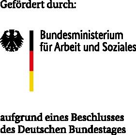 Logo Bundesministerium für Arbeit und Soziales mit Förderzusatz